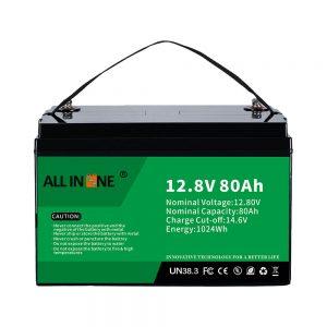 Најпопуларнија замена оловне киселине соларна РВ поморска ЛиФеПО4 12В 80Ах литијумска батерија